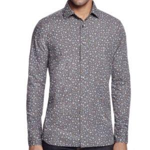BLOOMINGDALE'S $98 Charcoal Floral Slim Fit Shirt